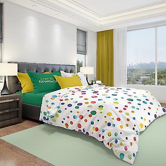 Lit en coton multicolore Technicolor complet, L150xP280 cm, L90xP195 cm, L52xP82 cm