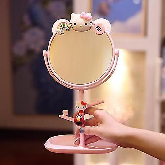 الكرتون سطح المكتب ماكياج مرآة مزدوجة الجانب أميرة سطح المكتب مرآة لطيف فتاة طالب خلع الملابس مرآة مع مرآة التخزين