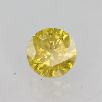 Cert 0,45 karat elävä keltainen SI3 pyöreä brilliant parannettu luonnollinen timantti 4,78mm