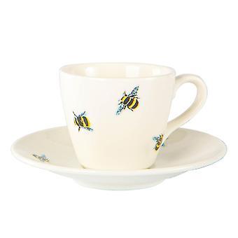 Bee Casual Espresso Cup & Saucer Set Tazas de porcelana estampadas 90ml blanco