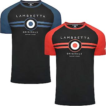 Lambretta Mens Alvo Raglan Crew Neck Casual Retro T-Shirt Top Tee