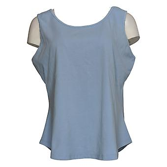 Denim & Co. Women's Top Printed Long-Sleeve Shirt W/ Tank Blue A392957