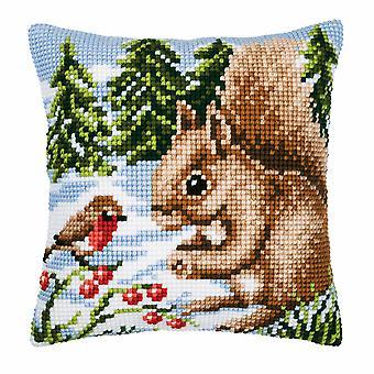 Vervaco Cross Stitch Kit: Cuscino: Winter Scene Scoiattolo/Robin