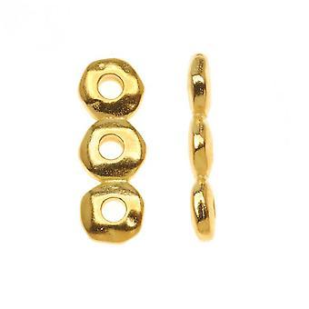 Metallinen välike, 3-säikeinen nugget-tanko 18,5x6,5mm, 2 kpl, kullattu, By TierraCast
