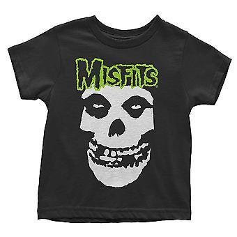 Misfits Peuter T Shirt Schedel en Logo nieuw Officieel Zwart 12 maanden tot 5 jaar