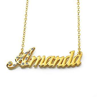 """L Amanda - 18 karaattinen kullattu kaulakoru, muokattavissa nimi, säädettävä ketju 16""""- 19"""", Regal Packaging"""