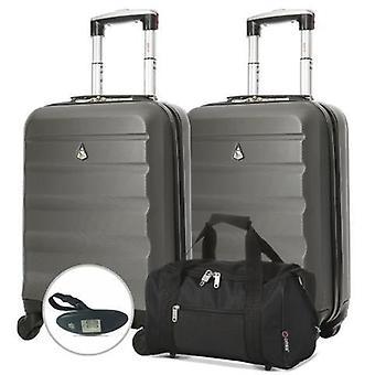 Aerolite (55x35x20cm) juego de equipaje de mano ligero - con 5 ciudades negro holdall y báscula de equipaje