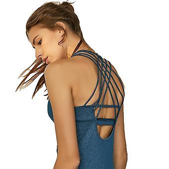 ドライフィットクリスクロスバックストラップヨガトップスは、シャツを走る女性のためのブラジャーで構築