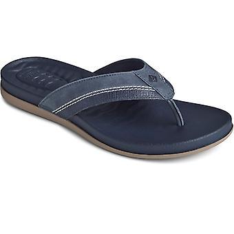 Sperry Plushwave Flip Flop Mens Leather Sandals Navy