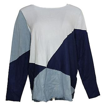 Belle By Kim Gravel Colorblocked Sweater Twilight Large