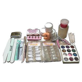 12 Colors nail glitter powder set nail art painting kit acrylic pen brush nail salon cai181
