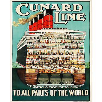Vintage Metal Sign Retro Publicidad Cunard Line
