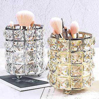 Femmes en or maquillage brosse outils porte-bagage cosmétique stockage en cristal vase collecteur fa0266