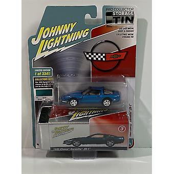 1995 Chevy Corvette ZR-1 Aqua with Storage Tin 1:64 Johnny Lightning JLCT004B