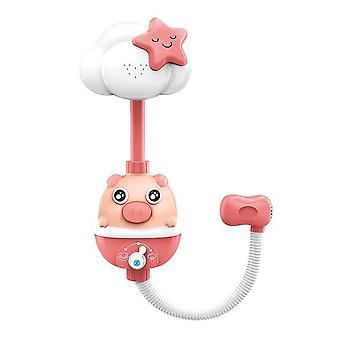 ベビーバスタイム面白いおもちゃ漫画バスタブルトおもちゃ赤ちゃん電気スプリンクラー入浴遊び物バッテリーなし(ピンクシャワーピッグ)