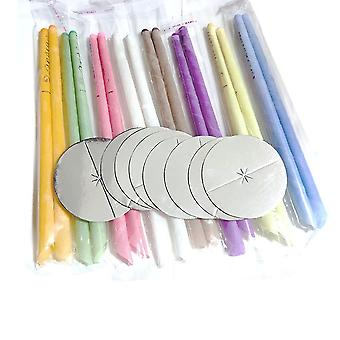 Earwax Candles Set 16pcs Ear Wax Remover Aromatherapy Candling Ear Care Tools 8 Colors Ear Candle Beewax 8pcs Horn Earplug Trays