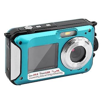 Appareil photo numérique 2.7 pouces 1.8 pouces double écran support caméra étanche max 24mp 16 x zoom numérique noir bleu caméscope