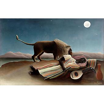 The Sleeping Gypsy, Henri Rousseau Art Reproduction. Primitivism Style Modern Hd Art Print Poster, Canvas Prints Wall Art For Home Decor Pictures