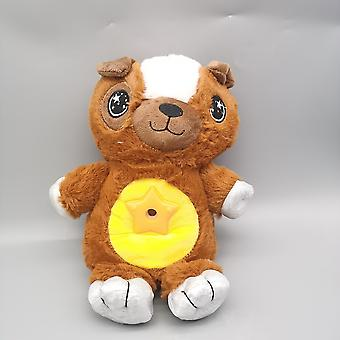 Stuffed Animal With Star Light Projector In Belly Comforting Toy Plush Toy Night Light Cuddly Puppy  Gifts For Kids