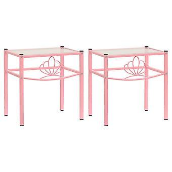 mesas de cabeceira vidaXL 2 Pcs. Pink Transparent Metal and Glass