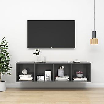 vidaXL armoire de télévision gris brillant 37x37x142,5 cm panneau de particules