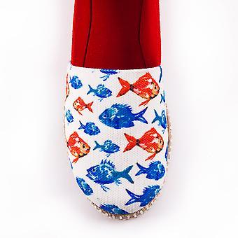AnemosS Aquarium Women's Shoes, Artist Design, Colorful Fish, Linen Fabric, Cotton Internal Structure