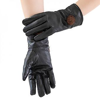Mimigo Black Womens Classic Winter Warm Driving Hairsheep Leather Gloves 100% Pure Cashmere Lined With Natural Mnk Fur Pompom
