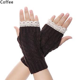Winter Warme Handschuhe Mode Unisex Halblange Handschuhe gestrickte Spitze Fingerlos