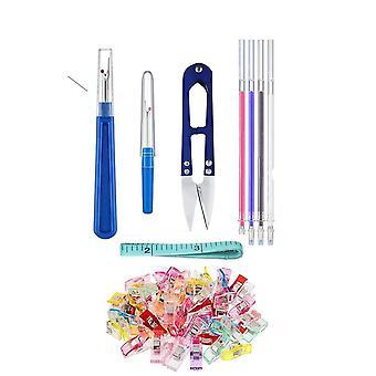 Käsin ompelutyökalut set,ompelu kiinnikkeet & sauman viiltäjät & lämpökangas merkintä kynä