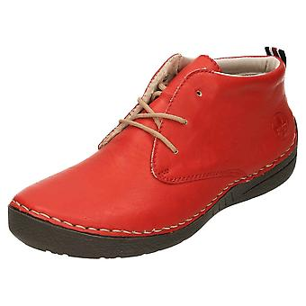 Rieker Lace Up Ankle Boots Flat 52522-33 Red