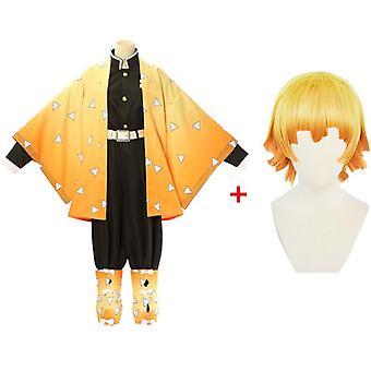 Anime démon přemožitel kimetsu no yaiba agatsuma zenitsu cosplay kostým ženy kimono uniforma halloween vánoční party oblečení