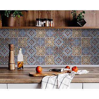 "5"" X 5"" Blue Warm Tones Mosaic Peel and Stick Tiles"