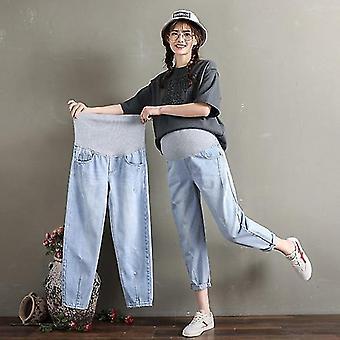 Maternity Jeans Elastic Waist Belly Loose Pants Women Pregnancy Trousers