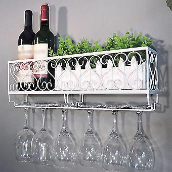 Gin Wein Glas Rack Halter Wand montierte Getränkeflasche Aufbewahrung Rack Weiß