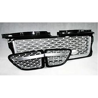 Range Rover Sport (L320) Gloss Black Grille met Silver Mesh 3 Piece Set (2005 - 2009)