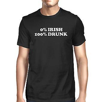 0% irlandzki 100% pijany czarny T-shirt śmieszne irlandzki graficzny koszul