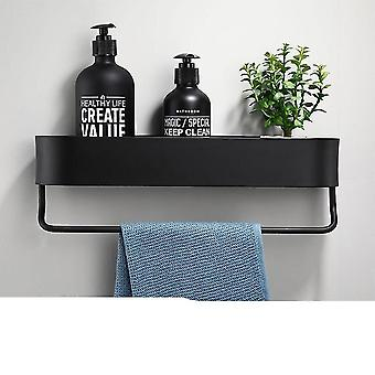 Household storage caddies 30cm with bar black bathroom shelf and kitchen wall shelves shower