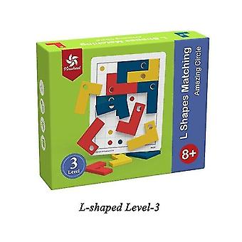 Tile games pinwheel l shaped matching board game puzzle color wood chip intelligence cognitive|strategy games