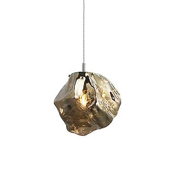 Endon Rock Modern Contemporary Single Pendant Light Metallic Bronze Glass Shade Cromato