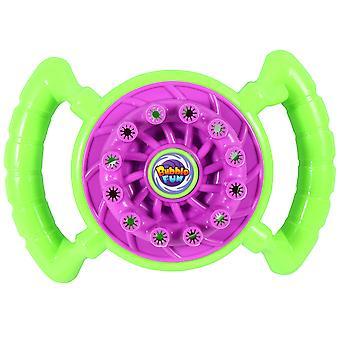 מכונת בועה בצורת גלגל ההגה מכונת בועה חשמלית צעצוע מאוורר קטן בחוץ נושבת צעצוע בועה ללא סוללה (בקבוק צבע אקראי)