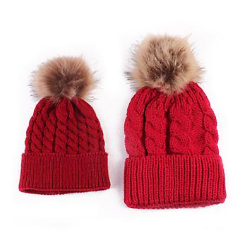 Autumn And Winter New Parent-child Wool Hat Mother Baby Warm Pure Color Wool Ball Knitted Hat
