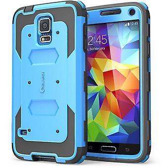 Olen Blason Samsung Galaxy S5 - Armorbox Dual Layer hybridi koko kehon kansi-sininen