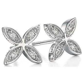 925 Silver Flower Zirconium Fashionable Earring