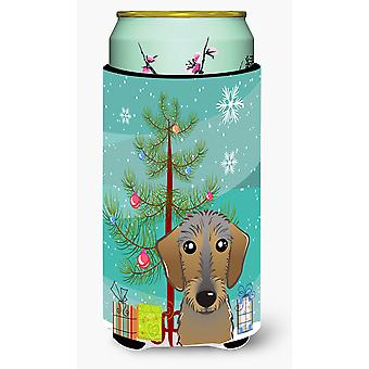 Christmas Tree and Wirehaired Dachshund Tall Boy Beverage Insulator Hugger