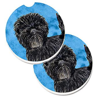 Blue Affenpinscher Set of 2 Cup Holder Car Coasters