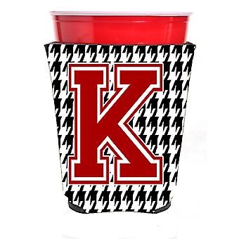 Monogram - Houndstooth  Initial  K Red Solo Cup Beverage Insulator Hugger