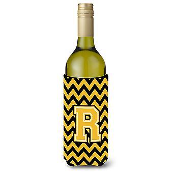 Letter R Chevron Black and Gold wijnfles drank isolator Hugger