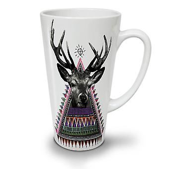 Triangle Deer NEW White Tea Coffee Ceramic Latte Mug 12 oz | Wellcoda