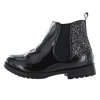 Girls black patent PU sparkly ankle boots