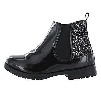 Meninas preto patente PU brilhante tornozelo botas
